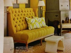 Yellow love seat. Oh the tufting! So pretty!