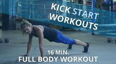 No equipment? No problem! This intense 16 minute workout routine requires no equipment but delivers a fulfilling full body workout! In this episode of Kickstart Workout, certified personal trainer Holly Rilinger demonstrates a full body routine that only takes 16 minutes. This cardio strength training workout will only require your own body weight! This workout alternates 1 minute of strength moves followed by 30 seconds of cardio. Holly takes you through two cycles of the following moves…