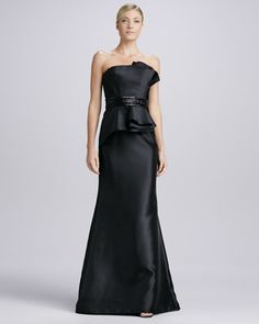 Strapless Beaded Peplum Gown, Black by Carmen Marc Valvo at Bergdorf Goodman. FOr Lea. Wouldl ove this in another color!!