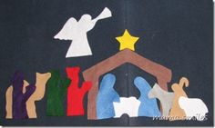 free pattern for a felt nativity  Looks more simple than the one we made.