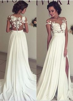 Lace and Chiffon Wedding Dress Illusion Back Thigh Slit · Onlyforbrides · Online Store Powered by Storenvy
