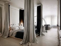 THE MODERN DAY CANOPY BED: How do you like me now? |  Designed by Rick Joy. Photo by Joe Fletcher for The New York Times.