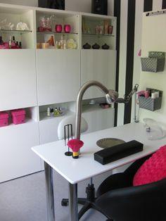 Love this space   Nail Technician Room ideas   Nail room decor   Home nail salon decorating ideas