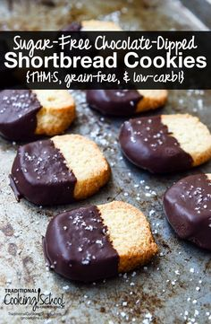 Sugar-Free Chocolate-Dipped Shortbread Cookies {THM:S, grain-free, & low-carb!} | When you're on a healing or weight loss journey, it's very important emotionally to have sweet treats. These Chocolate-Dipped Shortbread Cookies fit the bill! They're allergy-friendly, grain-free, gluten-free, low-carb, and THM:S! | TraditionalCookingSchool.com