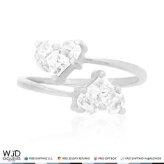This beautiful midi ring features two simulated white diamond hearts set side by side in 14k solid white goldprong setting totaling 1.50Ct.Being an April birthstone white diamond makes a great gift for Aries and Taurus zodiac signs.Also comes in yellow gold! Product Specifics   Metal 14k Whi...