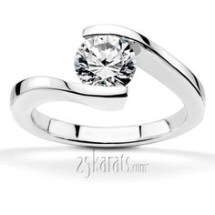 Round Cut Tension Set Solitaire Engagement Ring