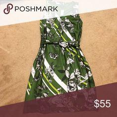 Silk Dress Beautiful green and white floral, butterfly 🦋 print dress. 💯 silk! Talbots Dresses Mini