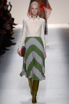 Gonna pliss� verde e grigia Valentino