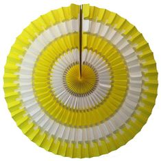 Yellow & white vintage style 16 inch striped honeycomb tissue paper fan. Create an elegant party backdrop in minutes with these beautiful double-sided paper fans. Made in USA by Devra Party. Yellow Party Decorations, Tissue Paper Decorations, Paper Balls, Party Garland, Backdrops For Parties, Perfect Party, Honeycomb, Birthday Party Themes, Decorating Tips