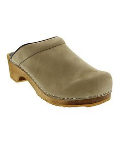 Loving this Beige Twister Wood & Leather Clog on #zulily! #zulilyfinds