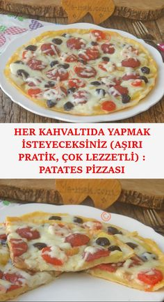 Potato pizza - without using dough, you can easily prepare the pan for 5 minutes, quite satisfactory, practical and delicious recipes . Turkish Breakfast, Breakfast Cups, Bakery Recipes, Cooking Recipes, Pizza Wraps, Yummy Food, Tasty, Recipe For Mom, Bread Baking