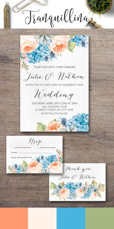 Wedding Invitation Set Printable, Peach & Blue Spring Summer Wedding Ideas. Coral & Blue Wedding Invitation, Peony and Hydrangea Wedding Invitation. Boho Wedding Invitation Set. For more info check the following link: tranquillina.etsy.com