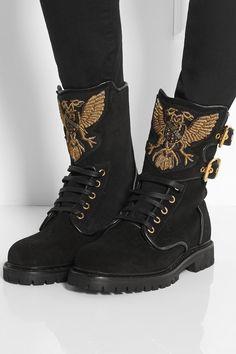 Balmain|Eagle Ranger embroidered suede boots|NET-A-PORTER.COM