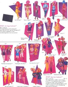"""Hasbro's 1987 toy catalog for Jem & The Holograms dolls & accessories including """"On Stage"""" & """"Flip Side"""" fashions. Thanks to Jem vs. Best 80s Cartoons, Old Cartoons, My Childhood Memories, Childhood Toys, Vintage Dolls, Vintage Ads, Dolls From The 80s, Jem Et Les Hologrammes, Jem Doll"""