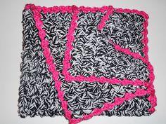 Crochet Baby Blanket Zebra with Hot Pink FREE by CrochetByMonet, $45.00
