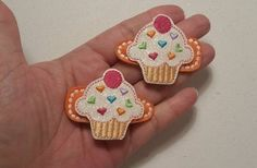 Cupcake - Felt Hair Clippies - Set of 2 - Ready to Ship