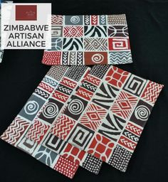 """Warm Tones Print Placemats"" Zimbabwe Textiles Set of 4 hand printed African placemats.  These placemats are hand printed by Zimbabwean women who work from  home. Their wares are then sold at the Avondale Market in Harare, Zimbabwe.  This set was made by the artist Patricia."