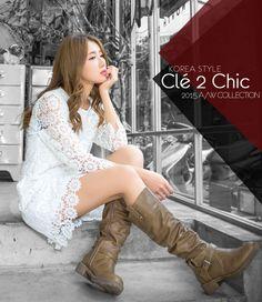 Cle 2 Chic-正韓-女孩系七分袖圓領蕾絲洋裝