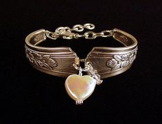 Antique silver spoon bracelet with roses and heart shaped pearl by Dishfunctional Designs