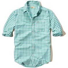 Hollister Plaid Poplin Shirt ($20) ❤ liked on Polyvore featuring men's fashion, men's clothing, men's shirts, men's casual shirts, green, mens tartan shirt, mens pocket t shirts, mens slim shirts, mens green plaid shirt and mens plaid shirts
