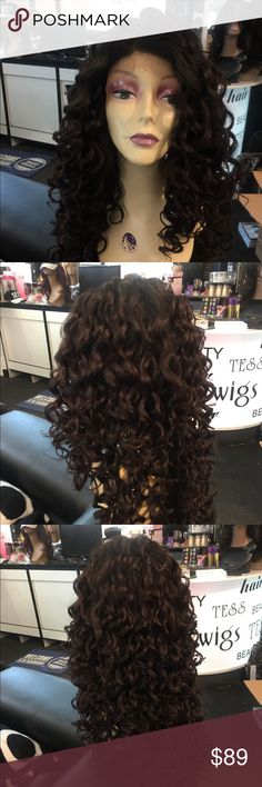 Wig Human hair blend  Swisslace curly long Wig Wig Lacefront Swisslace Long Curly dark brown so dark it almost looks black heat resistant adjustable cap wig combs inside wear up or down long thick curly wig Accessories Hair Accessories