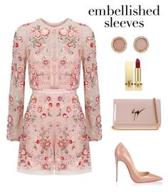 Untitled #2108 by meli-g35 on Polyvore featuring Needle & Thread, Christian Louboutin, Giuseppe Zanotti, Michael Kors, Yves Saint Laurent and embellishedsleeves