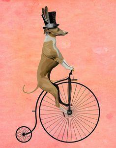Greyhound 14x11 Black Penny Farthing Art Print Poster Acrylic Painting Giclee Wall Decor Wall hanging Wall Art Animal Painting dog on bike