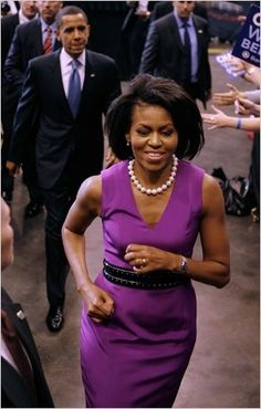 The first lady in purple!