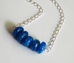 Kyanite Blue Rainbow Moonstone beaded Necklace  by ferozasjewelery, $48.00