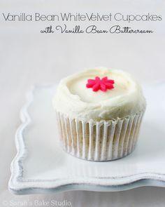Vanilla Bean White Velvet Cupcakes - you're go-to scratch vanilla cupcake recipe, #MadeWithChobani, vanilla bean, and white chocolate. Yum!