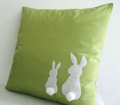 Two Little Lovely Rabbits Moss Green Pillow Cover. Spring Summer Bunny Cushion. Pom Pom Appliques