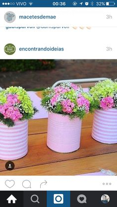 20 tin can craft ideas for flower vases and plant pots, Show Your Crafts and DIY Projects. Diy Flowers, Flower Vases, Flower Decorations, Flower Pots, Flower Arrangements, Flower Ideas, Table Arrangements, Rose Flowers, Green Flowers