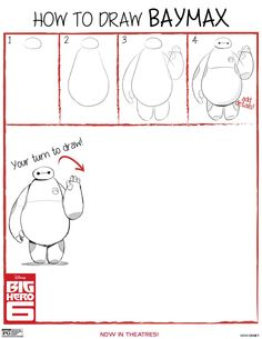 How to Draw Baymax from Big Hero 6 Free Printable