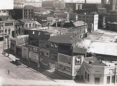 Demolition of the Commissariat Stores (demolished in and the old taxation building.George St,Sydney showing The Rocks and the site of what is now the Museum of Contemporary Arts. State Records of NSW. Sydney City, Sydney Harbour Bridge, Great Photos, Old Photos, Australia Tourist Attractions, The Rocks Sydney, Museum Of Contemporary Art, Historical Pictures, Sydney Australia