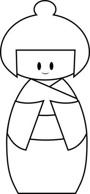 kokeshi doll -- can be used as a paper piecing pattern for card making or scrapbooking.