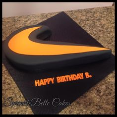 Nike Swoosh Cake Golden Birthday Parties, 13 Birthday Cake, 13th Birthday, Happy Birthday, Birthday Ideas, Cakes For Teenagers, Cakes For Boys, Celebration Cakes, Birthday Celebration