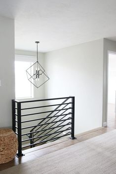 Read this article today which chats about diy home upgrades Indoor Railing, Modern Stair Railing, Stair Railing Design, Iron Stair Railing, Modern Stairs, Modern Basement, Deck Railings, Banisters, Staircase Remodel