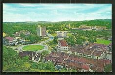 It shows a beautiful Aerial view of Jalan Suleiman. The publisher's code is Kuala Lumpur or Malaysian collection. Old Photos, Vintage Photos, Malayan Emergency, Shell House, Kuala Lumpur, Cool Websites, Aerial View, Fountain, City Photo