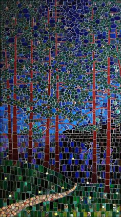 """Fireflies""  Glass, stone and ceramic tile mosaic  38""h x 22""w  SOLD      ©Michael Sweere - All Rights Reserved"