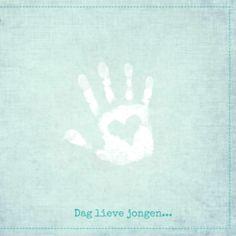 Kinder rouwkaartje hand met hart jongen