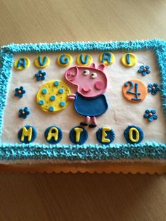 Torta con George Pig Sugar, Cookies, Cake, Desserts, Food, Crack Crackers, Pie Cake, Tailgate Desserts, Biscuits