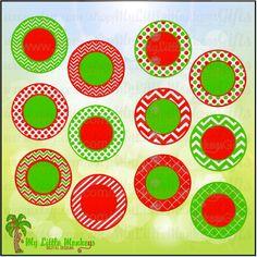 12 Christmas Monogram Bases Color Chevron, Polka Dot, Quatrefoil, Print or Layer Digital File JPEG SVG Instant Download - pinned by pin4etsy.com