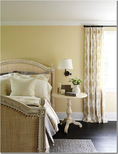 This is my guest bedroom wall color~love the bedding. Bedroom Wall Colors, Room Colors, Yellow Walls Bedroom, Paint Colors, Gray Bedroom, Curtains Yellow Walls, Light Yellow Bedrooms, Home Bedroom, Bedroom Decor