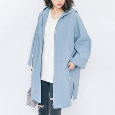 Korean fashion solid color drawstring hooded jacket