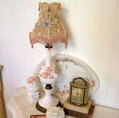 Vintage Antique Handpainted 1940s Porcelain Urn Lamp Red
