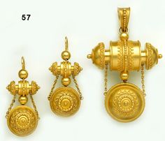 Etruscan-revival gold brooch/pendant with double locket and matching earrings.