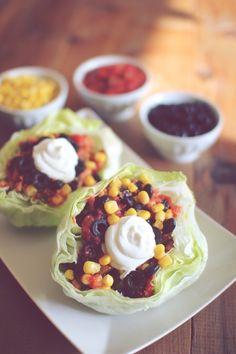 Small lettuce heads cut in half make the perfect bowls. Fill with healthy fresh fillings.  Can add grilled chicken ( I only use salt-free Mrs. Dash). Dressing non-fat plain Greek dressing.