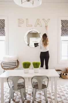 Awesome Playroom Decorating Ideas for Kids Need some amazing playroom decor ideas? Read more as Ashley shares her Awesome Playroom Decorating Ideas for Kids complete with toy storage tips and more! Playroom Table, Playroom Wall Decor, Modern Playroom, Baby Playroom, Office Playroom, Playroom Design, Playroom Organization, Boys Playroom Ideas, Playroom Lounge