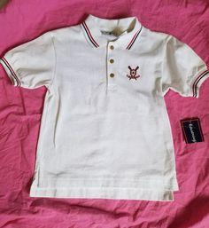 Kitestrings Boys White Polo Rowing Embroidery size 4T  #Kitestrings