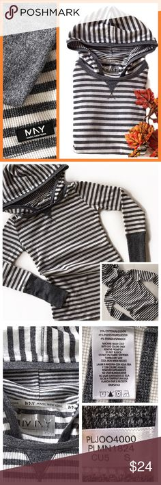 Marc New York Striped Long Sleeve Shirt Well constructed Marc New York Cotton Striped Casual Hoodie Shirt Long Sleeve Gray White Size Small-Measurements are included in the pics...  ✅Please see pics for more info ✅Please ask all questions prior to purchasing❓  Thank you-Deb @bootz1342  ✅all sales final ✅bundling discount ‼️Have fun Poshing‼️ Andrew Marc Tops Tunics